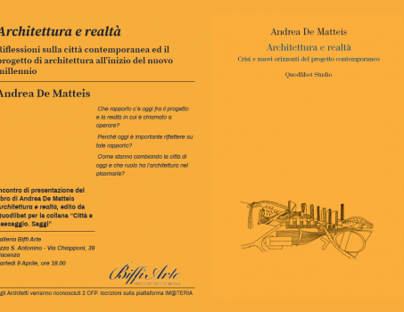 """PRESENTAZIONE LIBRO """"ARCHITETTURA E REALTA'"""" – Arch. Andrea De matteis"""