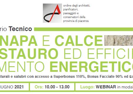 """Seminario """"CANAPA E CALCE RESTAURO ED EFFICIENTAMENTO ENERGETICO"""" Webinar"""